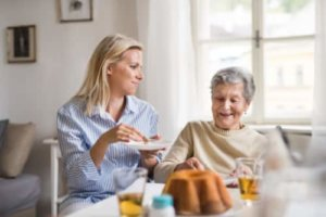a woman thrives in her assisted living program