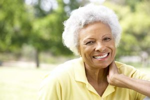 a woman is happy she learned of her senior living options in the fort worth area