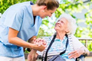 a woman is grateful for her senior living amenities available to her