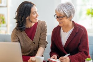 an advisor goes over senior living options with a potential resident
